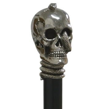 Gothic Skull  Knob walkingstick, antique-silver, decorated  with snake on a black hardwoodstick – image 1