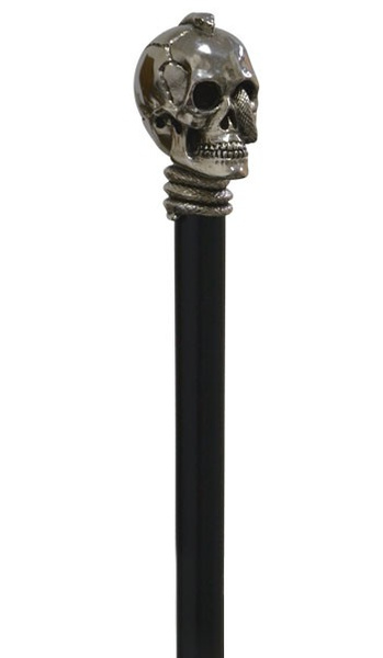 Gothic Skull  Knob walkingstick, antique-silver, decorated  with snake on a black hardwoodstick – image 3