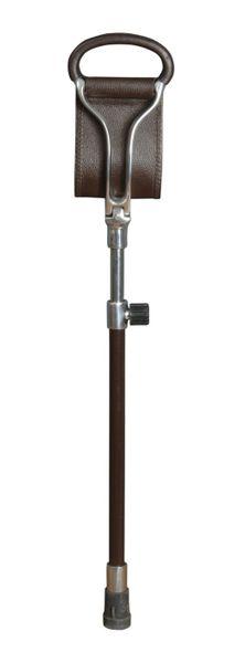 Sitzstock ASCOT,Sitzfläche aus braunem Leder, Griffe aus Metall mit Leder überzogen, Stock aus Leichtmetall, höhenverstellbar,Stocklänge 66-91 cm, Sitzhöhe 50-75 cm, inklusive stabilem Gummipuffer.