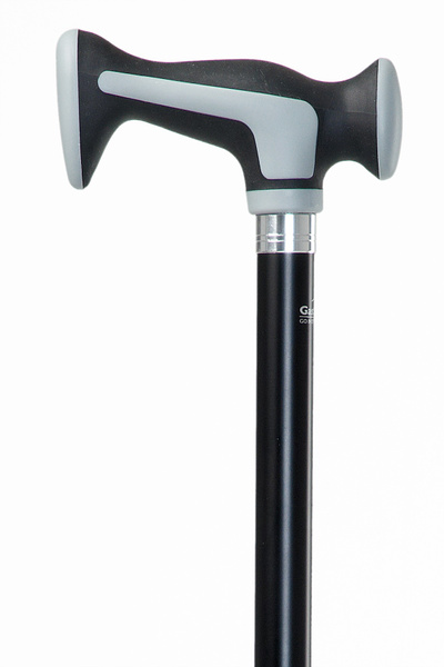 Designer walking stick SCORT, comfortable handle made of plastic, covered with a soft rubber material and a cushioning pad on the top, black varnished beech wood stick, including rubber buffer, 94 cm