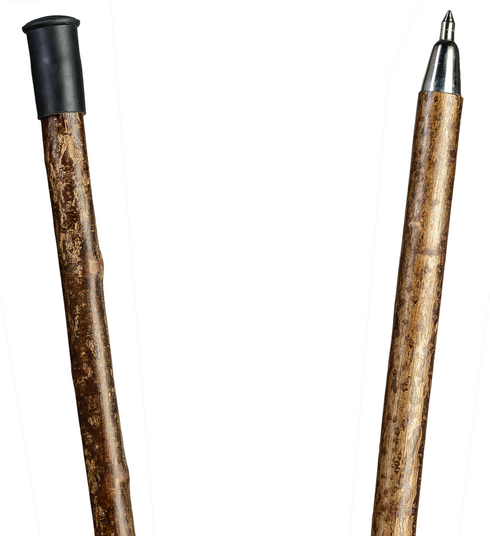 Alpenstange Haselnuss, stabiler Wanderstock aus rindenechtem Haselnussholz, zweigeteilt über Stahlgewinde, inklusiv  Stahlspitze als Abschluss. – Bild 2