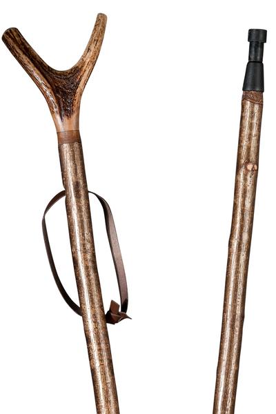Zielstock Haselnuss mit Hirschhorngabel, 2-geteilt mit Stahlgewinde und Combispike – Bild 1