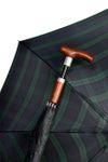 Stockschirm SAFEBRELLA DUO elegant in Karo grün/blau, Gehstock im Schirm