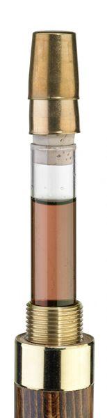 Gehstock Trinkstock Knaufstock aus leicht geflammtem Buchenholz, aufschraubbarer fein gemaserter Knauf,6 cl Glasphiople inkl. 1 Messingbecherchen im Inneren des Stockes. – Bild 3