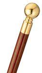 Drinking cane, travel stick KNOB, knob handle, brass, stick hardwood brown, walking stick, divisible, secret compartment, ladies, gentlemen, rubber buffer