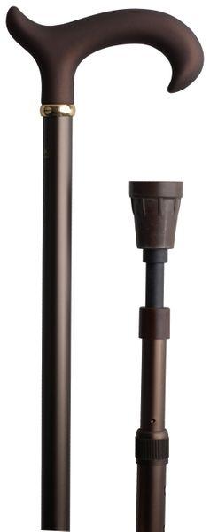 Gehstock ANTISHOCK, ergonomischer Derbygriff aus stabilem Gießharz mit samtiger Oberflächenveredelung, Stock aus stabilem Leichtmetall mit integriertem Patent- Stoßdämpfer, höhenverstellbar von 77-103 cm, inkl. Gummipuffer – Bild 1
