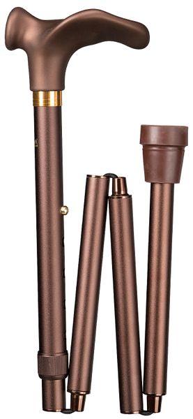 Gehstock DELUXE COMFORT Faltstock, anatomisch geformter Griff mit Soft-Beschichtung,Stock aus stabilem Leichtmetall, matt-braun, faltbar, höhenverstellbar, Spezial-Gummipuffer, rechte/linke Hand.