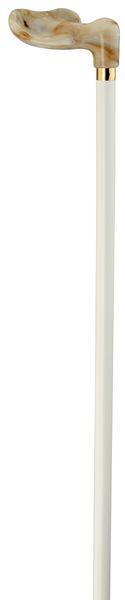 Blindenstock FISCHER anatomischer Griff,stabiles Marmor-Imitat, Stock Buchenholz weiß lackiert, rechte Hand, Damen, Herren, Gummipuffer – Bild 2