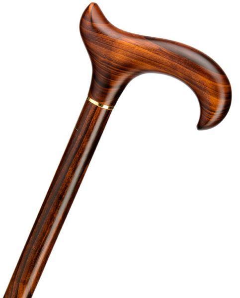 Gehstock EXCLUSIV KIRSCHBAUM, eleganter Derbygriff aus echtem fein gemasertem Kirschbaumholz, aufgesetzt auf einen Stock aus edlem Kirschbaumholz, inklusive Gummipuffer,
