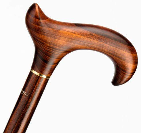 Gehstock EXCLUSIV, eleganter Derbygriff aus echtem fein gemasertem Kirschbaumholz, aufgesetzt auf einen Stock aus edlem Kirschbaumholz, inklusive Gummipuffer, – Bild 3