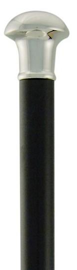 Gehstock Silber Knauf BARON, feinversilberter Knauf aus Aluminium-Kokillenguss, aufgesetzt auf einen Stock aus schwarz lackiertem Buchenholz, inklusiv Schlankpuffer. – Bild 3