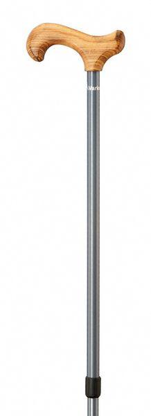 Gehstock VARIO-Derby, eleganter Derbygriff aus geflammtem Buchenholz, aufgesetzt auf einen Stock aus Aluminiumrohr in stratosilber, stufenlos höhenverstellbar, inklusiv Schlankpuffer. – Bild 2