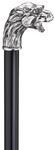 Gehstock LÖWENHERZ, Knaufgriff aus massivem Silberzinn in Form eines kleinen Löwenkopfes, detailgetrau abgebildet, aufgesetzt auf einen Stock aus schwarz lackiertem Hartholz, inklusiv Gummipuffer.