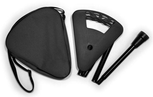Gehstock FLIPSTICK Sitzstock, schwarz und elegant, höhenverstellbar, faltbar, aus stabilem Leichtmetall,Spezial Klappsitz/Griff inklusive Gummipuffer und praktischer Nylontasche. – Bild 1