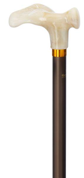 Gehstock DELUXE COMFORT , anatomisch geformter Griff in marmorierter Optik,extra langer Stock aus stabilem Leichtmetall, matt-braun, höhenverstellbar, Spezial-Gummipuffer. – Bild 1