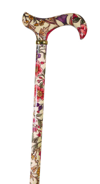Walking Stick Fashion Derby GARDEN PARTY, elegant Derby handle and stick made of maple wood with a floral flower decoration, including rubber buffers.