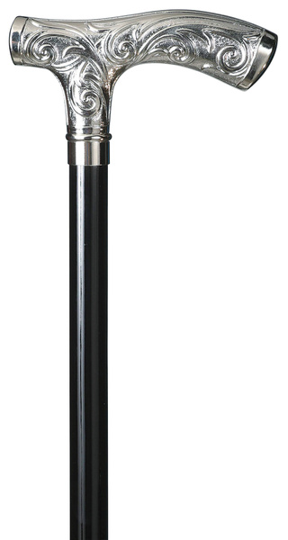 Walking stick MEDICI, chromium plated Fritz-grip made of ABS, black beech wood