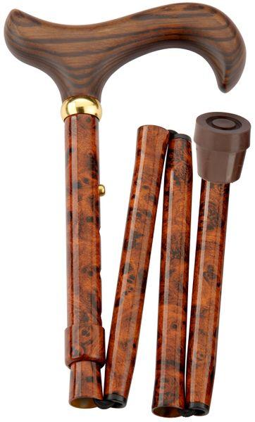 Gehstock Faltstock BIRDEYE, eleganter Derbygriff aus Hartholz, aufgesetzt auf einen Stock aus stabilem Leichtmetall im Birdeye-Design, höhenverstellbar, faltbar, inklusiv Schlankpuffer.