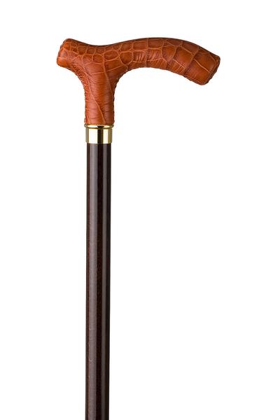 Gehstock CROCO-COGNAC, Fritzgriff aus Buchenholz, überzogen mit handgenähtem Rindsleder in Croco-Cognac dunkelbraun, aufgesetzt auf einen seidenmatt-klar lackierten dunkelbraunen Stock aus Buchenholz,inklusiv Schlankpuffer. – Bild 2