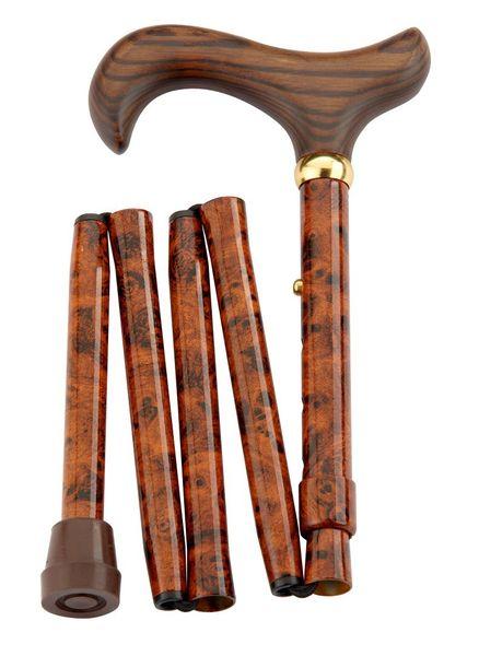 Gehstock Mini Faltstock BIRDEYE, eleganter Derbygriff aus fein gemasertem Hartholz, aufgesetzt auf einen Stock aus stabilem Leichtmetall im Birdeye-Design, höhenverstellbar (78-86cm) faltbar, inklusiv Schlankpuffer und Baumwolltasche.