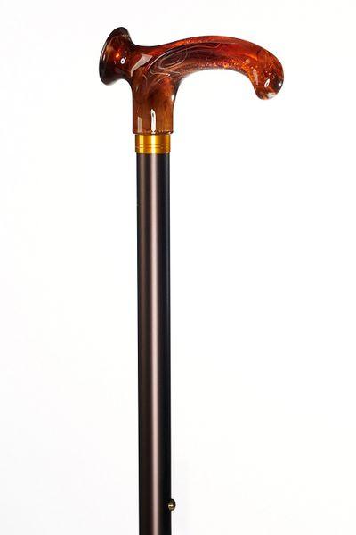 Design Gehstock  Derby RELAX BERNSTEIN anatomischer Griff RECHTS / LINKS, Stock Leichtmetall, bronce Satin-Finish, höhenverstellbar, inkl. Gummipuffer