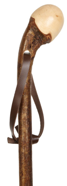 Gehstock Wanderstock Wurzelknauf HASELNUSS, edler Knaufstock aus europäischem Haselnussholz, Wurzelseite handpoliert, rindenecht und seidenmatt lackiert, inklusiv Tragschlaufe aus Leder und Bergstockspitze aus Metall. – Bild 1