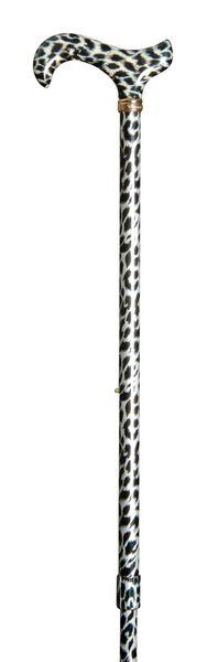 Design Gehstock SCHNEELEOPARD, bunt,  Derbygriff aus ABS, Stock stabiles Leichtmetall, höhenverstellbar, Schneeleopardenfell-Optik,Gummipuffer. – Bild 2