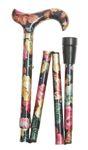 Gehstock Faltstock ELITE COLOR ROSES, bequemer Derbygriff aus Gießharz mit floralem Rosenmuster, aufgesetzt auf einen Stock aus stabilem Leichtmetall, höhenverstellbar, faltbar, inkl. Puffer.