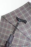 Stützschirm STEPBRELLA Gehstock höhenverstellbar, handsympathischer Fritzgriff, Automatiköffnung,Schirmgestell aus 8 stabilen Streben,edles Schirmdach aus Stoff, Karo grau / bordeaux / beige.