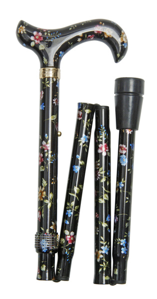 Gehstock Faltstock ELITE MILLEFLEUR, Derbygriff aus Acryl aufgesetzt auf einen Stock aus stabilem Leichtmetall mit floralem Blütenmuster, höhenverstellbar, inklusiv Gummipuffer.