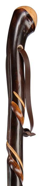 XL Gehstock ZIEGENHAINER Wurzelknauf, Wanderstock aus europäischem Kastanienholz mit handpolierter Wurzel, doppelt gedrehte Schmuckfräsung , inklusiv vernickelter Bergstockspitze als Abschluss. – Bild 1