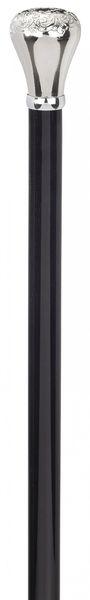 Gehstock Frackstock PALAZZO Silber, feinziselierter Knaufgriff aus Gießharz glanzverchromt, Stock aus Buchenholz seidenmatt schwarz lackiert, inklusiv elegantem Gummipuffer. – Bild 2