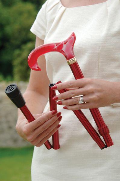 Gehstock Fashion-Faltstock BLOODY MARY, eleganter Derbygriff aus Acetat in rot/weiß mit toller Rauchglas-Optik, Stock aus stabilem Leichtmetall in rot, höhenverstellbar, faltbar, inklusiv Gummipuffer. – Bild 2