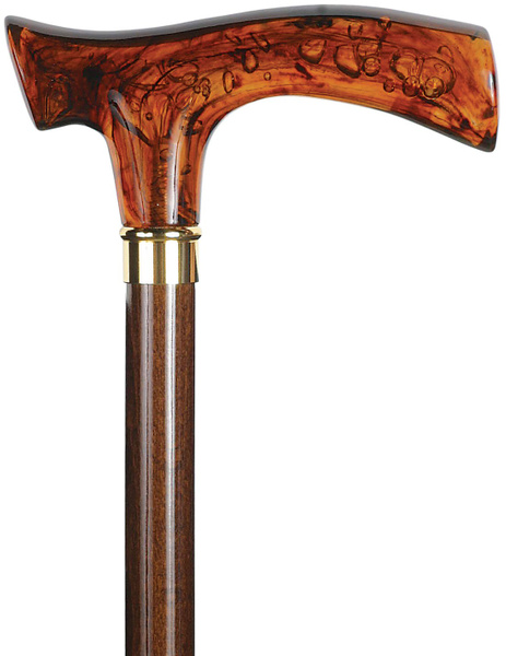 Walking stick, amber fritz-handle, cherry wood coloured shaft, brass-adornment ring – image 1