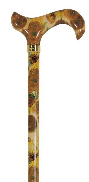 Gehstock Fashion-Derby NATIONAL GALLERY GOGH, eleganter Derbygriff aus Acryl, aufgesetzt auf einen Stock aus stabilem Leichtmetall mit Muster eines Gemäldes von Van Gogh, höhenverstellbar und faltbar – Bild 2