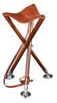 Sitzstock Dreibein TRIOLED 85, Sitzfläche aus stabilem Rindsleder in Sattlerqualität, Füße aus massiv Buchenholz, drei hochwertige Tellerspitzen, Leder-Tragriemen