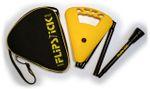 Gehstock FLIPSTICK Sitzstock, sonnengelb,faltbar aus stabilem Leichtmetall,Spezial-Klappsitz/Griff,inklusive Gummipuffer und praktischer Nylontasche.