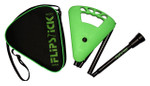 Gehstock FLIPSTICK Sitzstock, kräftiges Maigrün, faltbar aus stabilem Leichtmetall,Spezial-Klappsitz/Griff,inklusive Gummipuffer und praktischer Nylontasche.