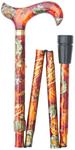 Gehstock Faltstock HARVEST FESTIVAL, schicker Derbygriff aus Acryl mit bunt-herbstlichen Mustern, aufgesetzt auf einen Stock aus stabilem Leichtmetall und Schmuckring, faltbar, höhenverstellbar, inklusiv Schlankpuffer. 001