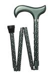 Gehstock Deluxe Schlank Faltstock DROPS, schicker Derbygriff aus Hartholz, aufgesetzt auf einen Stock aus stabilem Leichtmetall silber/grau-grün mit Ornament Dekor, höhenverstellbar, faltbar, inklusiv Schlankpuffer.