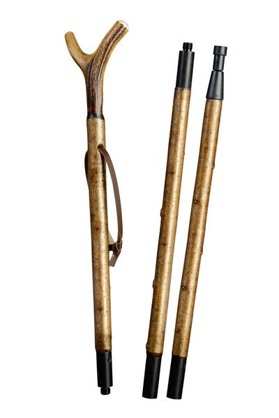 Zielstock Haselnuss mit Hirschhorngabel, 3-geteilt mit Stahlgewinde und Combispike