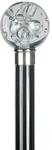 Gehstock Kugelknauf PLEXI transparent, Stock Buchenholz schwarz lackiert, eleganter Gummipuffer