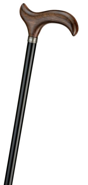 Gehstock CATALAN, eleganter Derbygriff aus echtem, fein gemasertem Eichenholz dunkel geflammt, aufgesetzt mit Silber-Schmuckring auf einen Stock aus schwarz lackiertem Buchenholz, inklusiv Elegant-Gummipuffer. – Bild 2