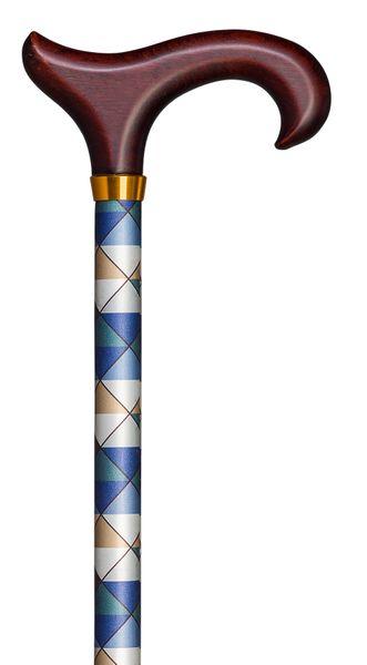 Gehstock Step-Derby MARITIM, eleganter Derbygriff aus Hartholz, aufgesetzt auf einen Stock aus stabilem Leichtmetall mit maritimem Rautendekor, höhenverstellbar, inklusiv elegantem Gummipuffer. – Bild 1