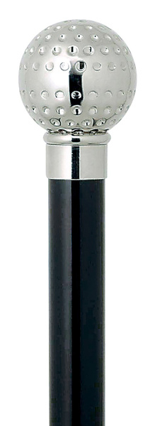 Gehstock Frackstock GOLFBALL Silber, feinziselierter Knaufgriff aus Gießharz glanzverchromt, Stock aus Buchenholz seidenmatt schwarz lackiert, inklusiv elegantem Gummipuffer.