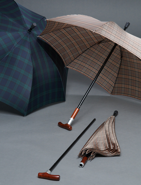 SAFEBRELLA DUO checked pattern brown, small, umbrella and walking stick – image 2