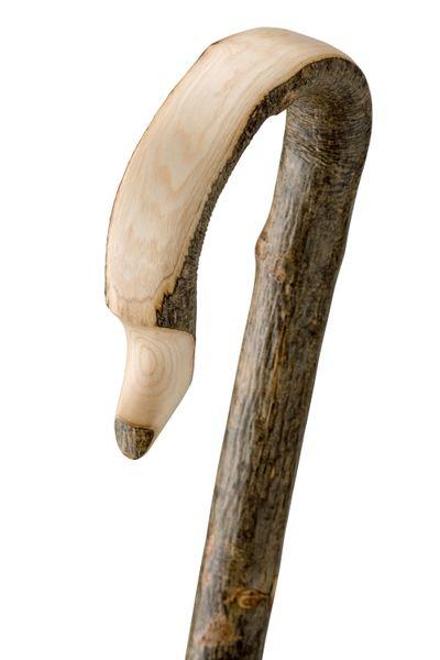 Gehstock Wanderstock SCHÄFERSTOCK,traditionelle Form, in einem Stück gebogener Rundhakenstock aus rindenechtem, europäischem Edel-Eschenholz, Metall-Rundkappe. – Bild 2