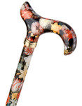 Walking Stick Fashion Derby NATIONAL GALLERY BOSSCHAERT, elegant Derbygrip made of acrylic, mounted on a stick made of sturdy light metal with pattern of a painting by Bosschaert, height adjustable, including slim rubber buffer. 001