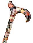 Gehstock Fashion-Derby NATIONAL GALLERY BOSSCHAERT, eleganter Derbygriff aus Acryl, aufgesetzt auf einen Stock aus stabilem Leichtmetall mit Muster eines Gemäldes von Bosschaert, höhenverstellbar, Gummipuffer. 001
