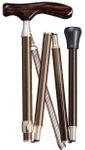 Gehstock  Faltstock SAMURAI BROWN, eleganter, stabiler  Fritzgriff aus handpoliertem Ebenholz, Leichtmetall mit Spezialverbindung, hochwertige Tasche, Handschlaufe und Gummipuffer